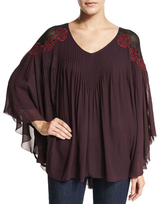 Sarah Embroidered-Shoulder Top, Plum