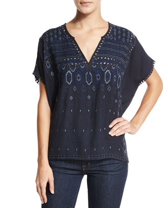 Ebele Embroidered Pointelle-Trim Top, Blue