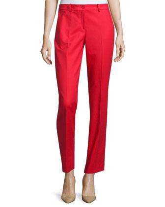 Samantha Slim-Leg Pants, Scarlet