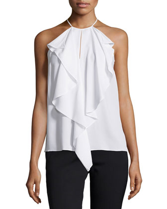 Halter-Neck Ruffle-Front Top, White