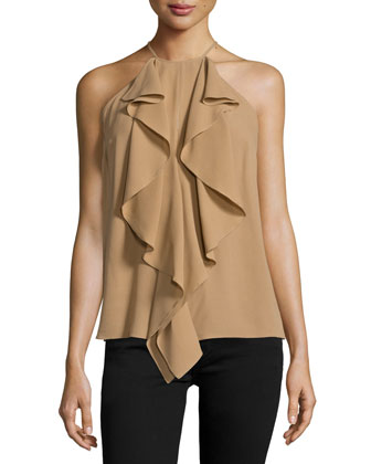 Halter-Neck Ruffle-Front Top, Fawn
