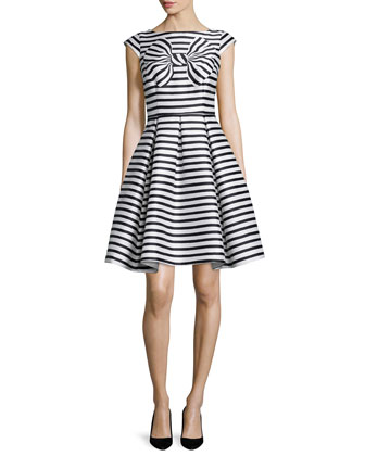 cap-sleeve striped dress with bow detail