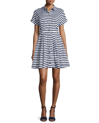 short-sleeve striped fit & flare shirtdress
