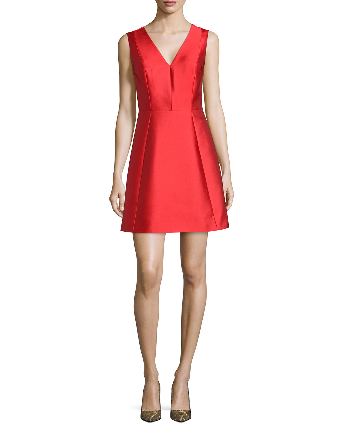 sleeveless bow-back fit-and-flare dress, Women's, Size: 0, Fairytale Red - kate spade new york