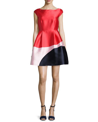 cap-sleeve colorblock fit & flare dress