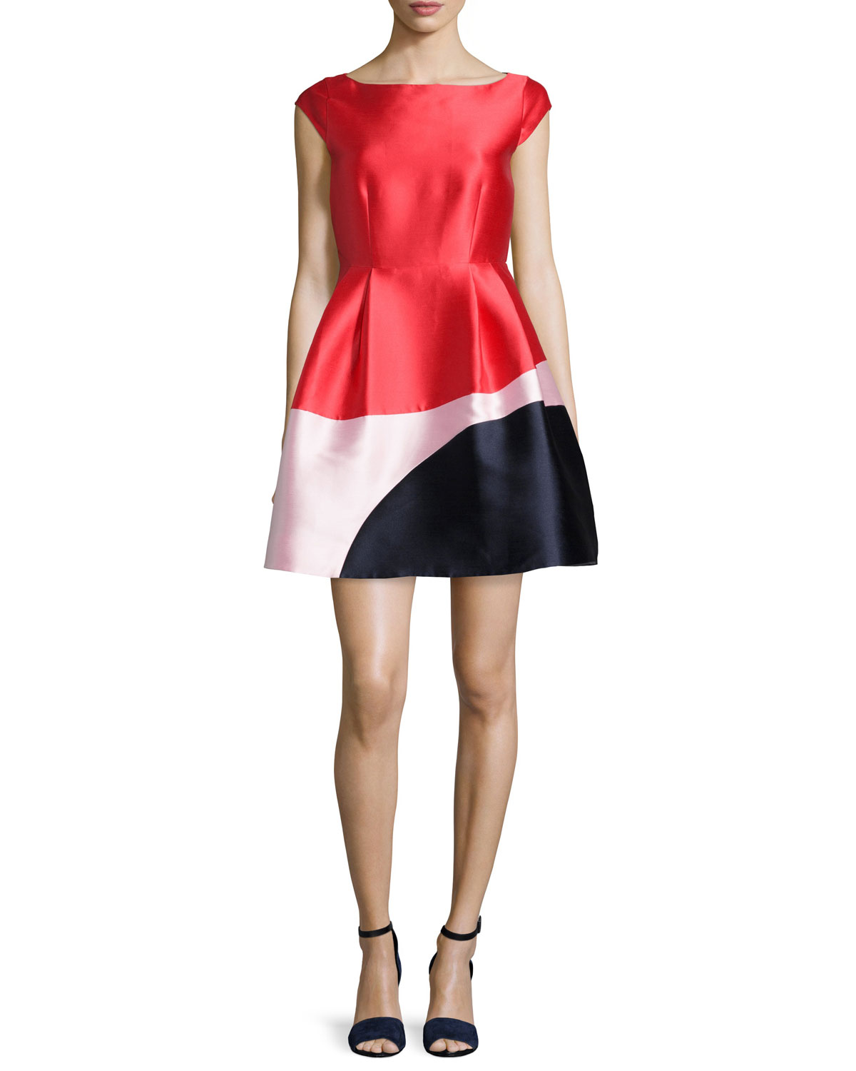 cap-sleeve colorblock fit & flare dress, Women's, Size: 0, Fairytale Red Mlt - kate spade new york
