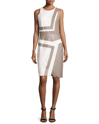 Sleeveless Bicolor Sheath Dress, Ivoire/Smokey Quartz