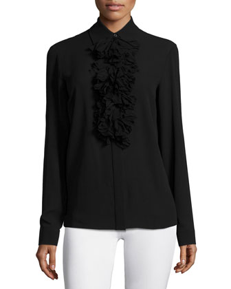 Long-Sleeve Ruffle-Front Blouse, Black