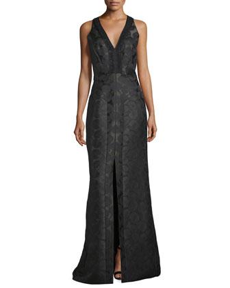 Sleeveless V-Neck Mermaid Gown, Midnight Forest