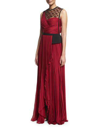 Sleeveless Embellished Plisse Gown, Ruby/Noir