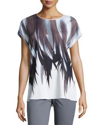 Nadette Short-Sleeve Printed Blouse
