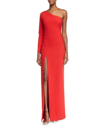 Palila One-Shoulder Fitted Gown, Red
