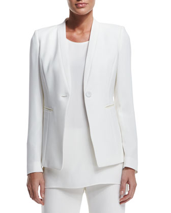 Kara One-Button Crepe Jacket, Women's