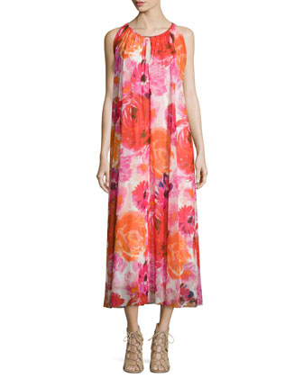 Sleeveless Floral-Print Box-Pleated Dress