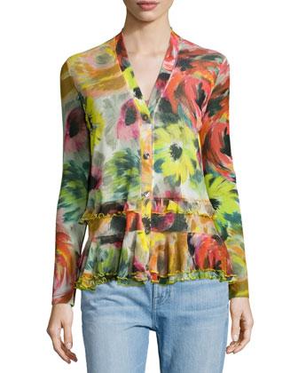 Floral-Print Ruffle-Hem Easy Cardigan