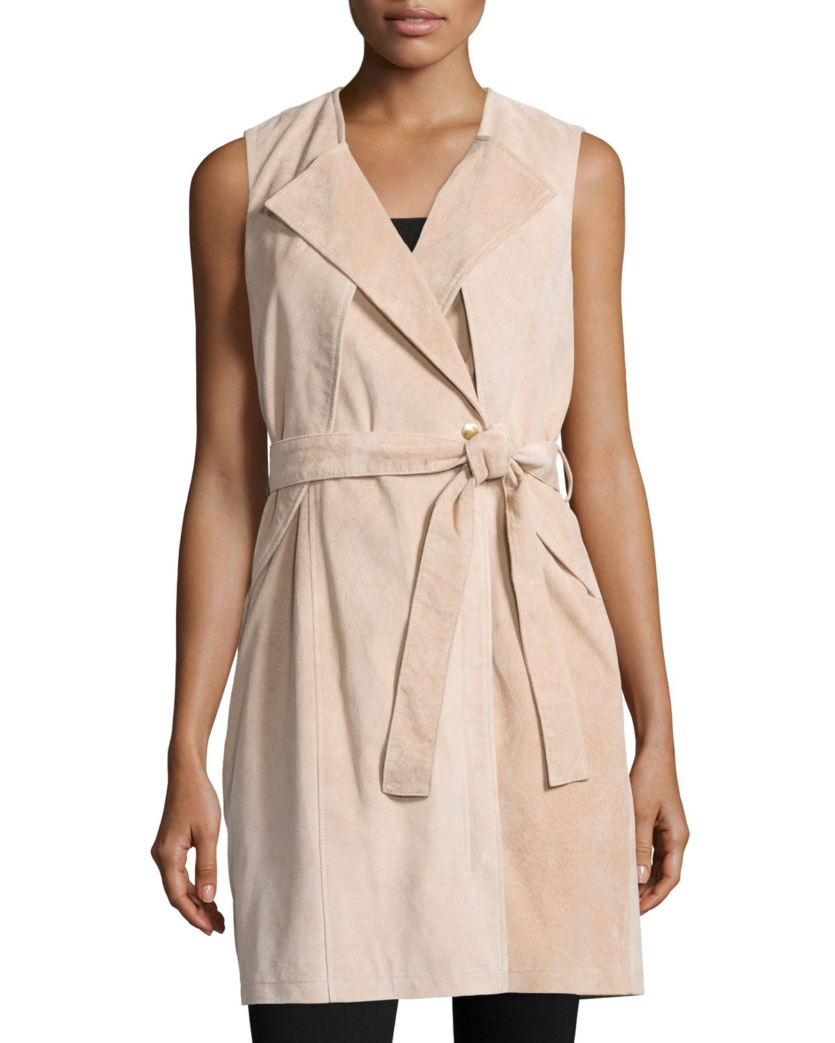 Belted Suede Trench Vest, Blush, Size: L/1012 - Neiman Marcus