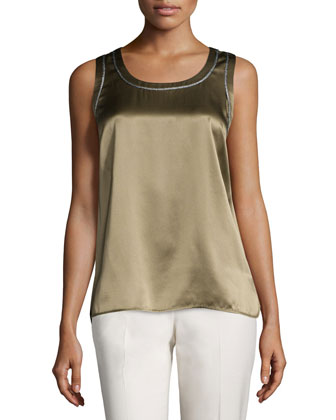 Roya Sleeveless Silk Blouse with Metallic Trim