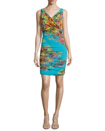 Sleeveless Dutch-Print Ruched Sheath Dress
