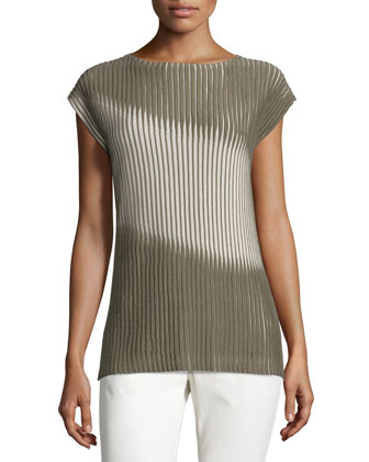Bicolor Pleat-Stitched Sweater