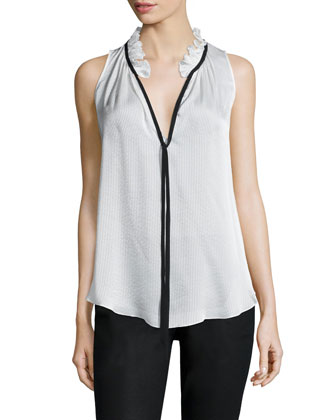 Katrina Shadow-Stripe Sleeveless Top, White/Black