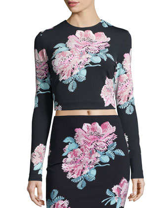 Polly Long-Sleeve Floral-Print Crop Top, Black/Multi Colors