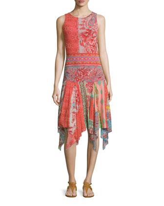 Sleeveless Floral-Print Hanky-Hem Dress
