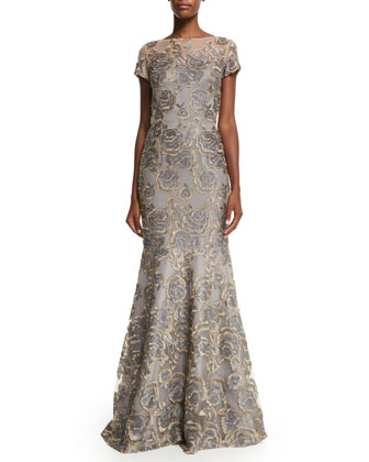 Short-Sleeve Floral Jacquard Mermaid Gown
