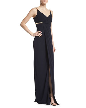 Sleeveless Faux-Wrap Column Dress