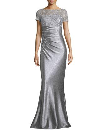 Short-Sleeve Sequined & Metallic Column Gown