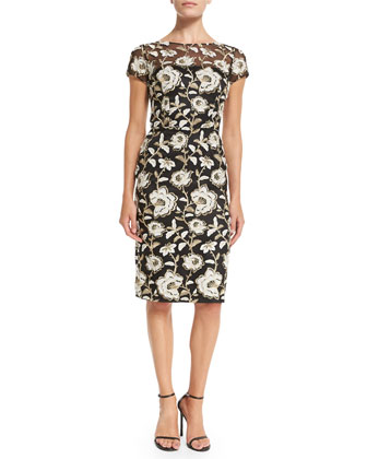 Short-Sleeve Floral Jacquard Sheath Cocktail Dress