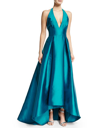 Halter-Neck High-Low Gown, Peacock
