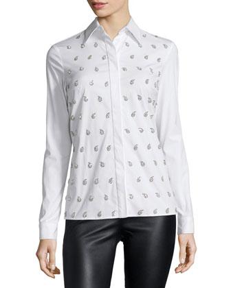 Embellished-Paisley Long-Sleeve Blouse, Optic White