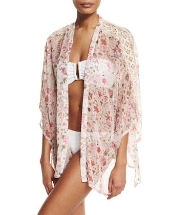 Liberty Love Floral Silk Kimono Coverup, Cream
