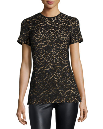 Short-Sleeve Jewel-Neck Lace Shell, Black