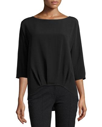 3/4-Sleeve Pleated-Hem Pullover, Black
