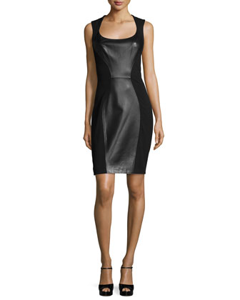 Sleeveless Leather-Panel Sheath Dress, Black