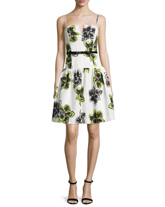 Sleeveless Dropped-Waist Party Dress, Citron