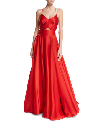 Sleeveless Crisscross-Bodice Organza Ball Gown