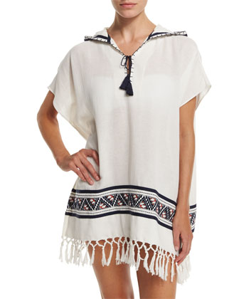 Embroidered Beach Poncho Coverup with Hood