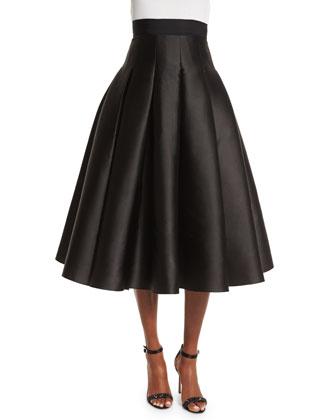 Pleated Midi Ball Skirt, Jet