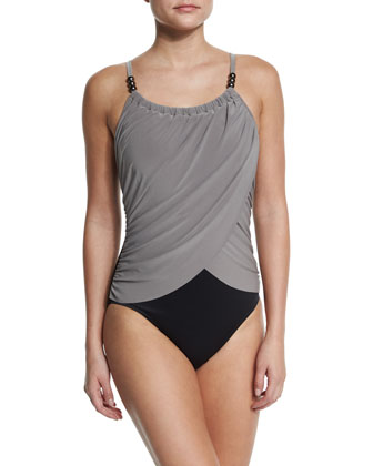 Lisa Draped-Front Underwire One-Piece Swimsuit, Taupe