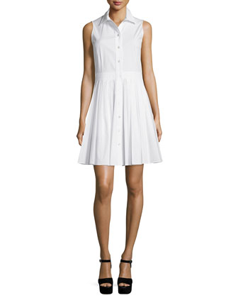 Sleeveless Pleated-Skirt Shirtdress, Optic White