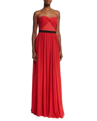 Strapless Sweetheart-Neck Gown, Scarlet