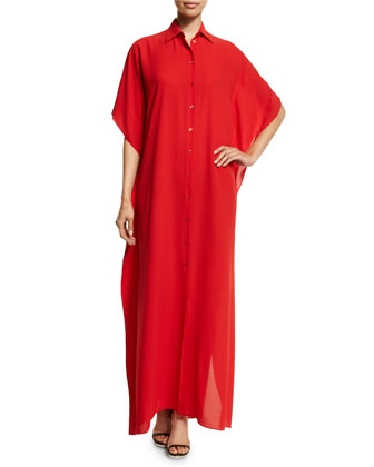 Half-Sleeve Button-Front Tunic Dress, Scarlet