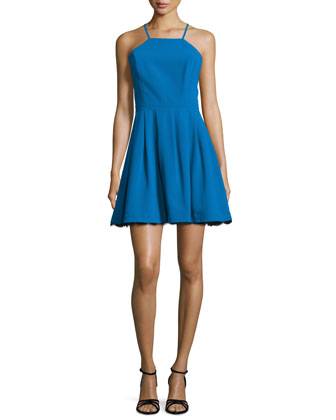 Cocktail Fit-&-Flare Dress W/Lace, Teal