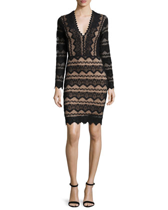Sierra Long-Sleeve Lace Dress, Black/Nude
