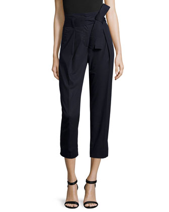 Paperbag-Waist Ankle Trousers, Phantom Blue