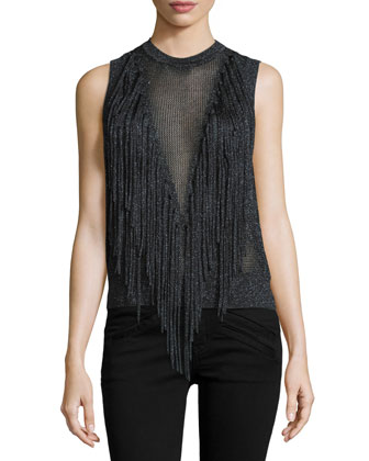 Ronja Sleeveless Sweater W/Fringe, Black