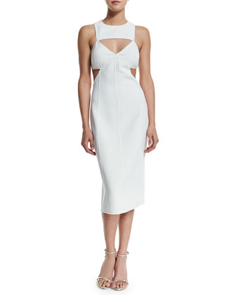 Sleeveless Cutout Sheath Dress, White