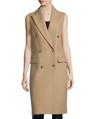 Sleeveless Double-Breasted Coat, Fawn